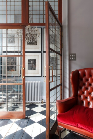 Upcycled French doors salvaged from a library in Holborn