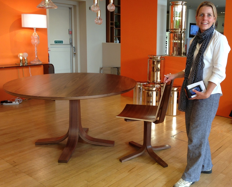 Katie Walker with her table and chair