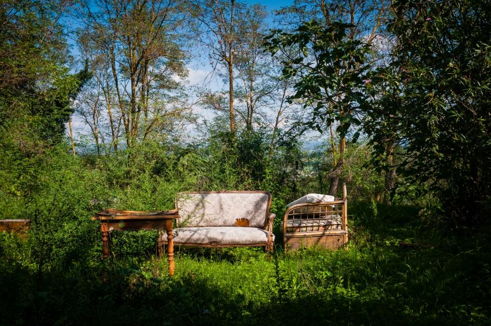 old furniture in a field