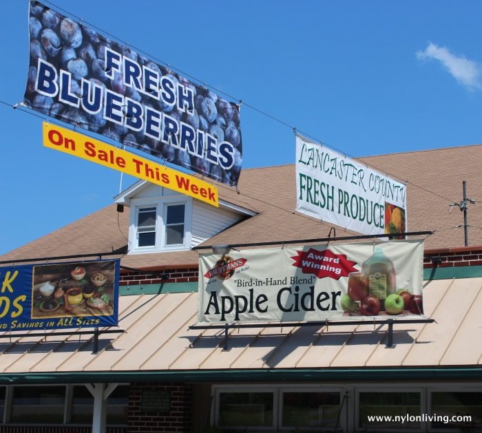 signs advertising local produce