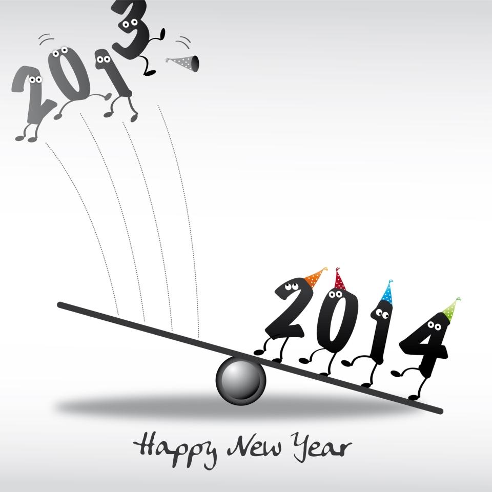 2014 Happy New Year Greeting Card, Zahlen, Katapult