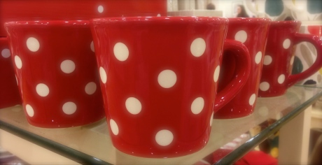 red polka dot cup