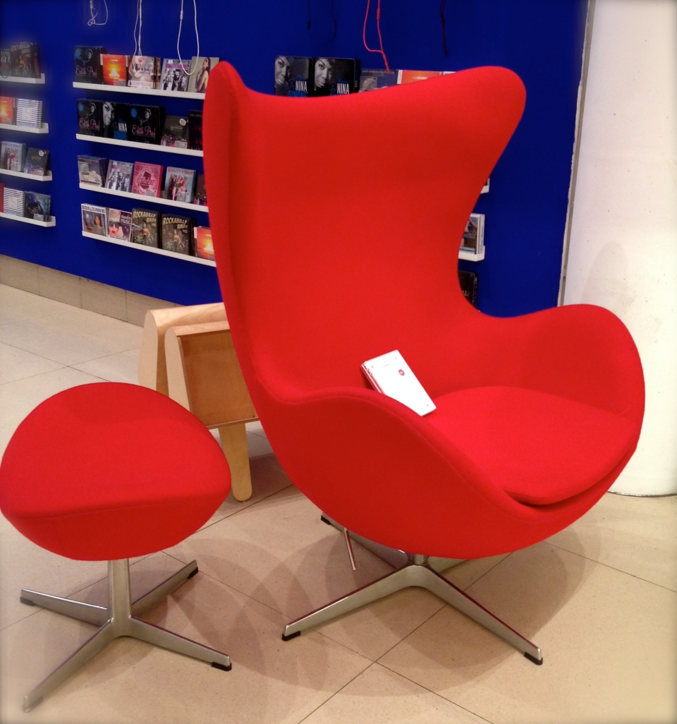 Egg chair and footstool