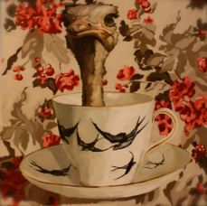 ostrich in a teacup painting