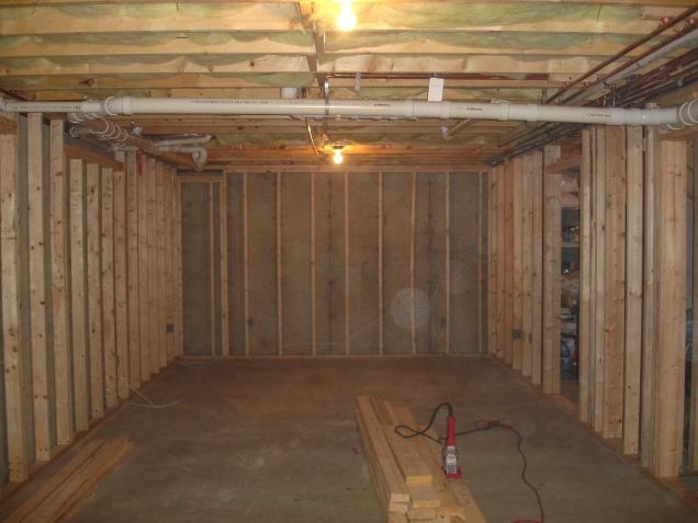 basement stud work