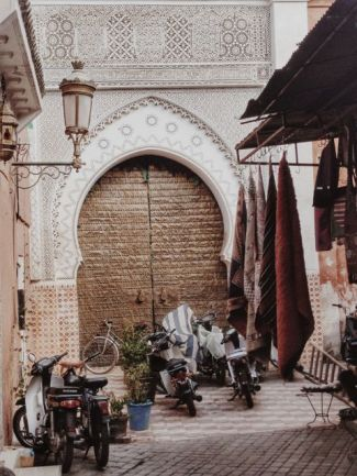 side street with mosque entrance