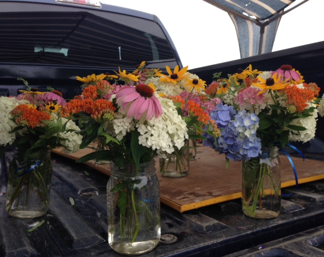 flowers in a pick up truck