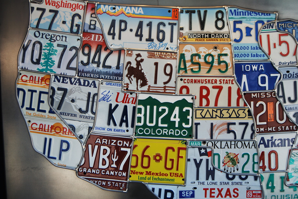 USA map consisting of license plates